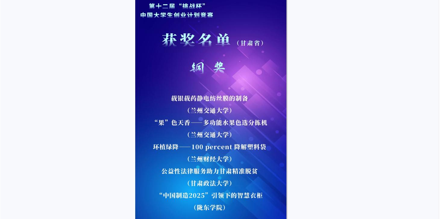 """我校学zi在dishi二jie""""挑战杯""""中国da学生创ye计划jing赛中qudejia绩"""